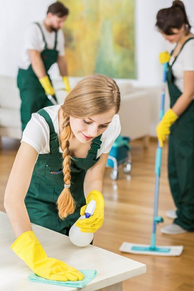 Team eines Reinigungsservice bei der Arbeit